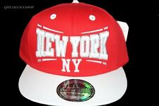 NY kids Snapback cap,red retro flat peak fitted hats, hip hop bling baseball r