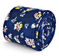 Frederick Thomas Designer Linen Mens Tie - Navy Blue - Yellow Pink Floral Flower