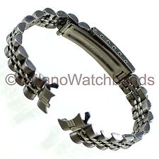 12mm Name Brand Curved End Fold Over Clasp Stainless Steel Ladies Watch Band