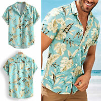 Men's Hawaiian Floral T Shirt Summer Short Sleeve Beach Party Casual Tops Blouse