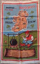 "Vintage Irish Linen Tea Towel Map & Irish Stew Recipe Made in Ireland 31""x19.5"""