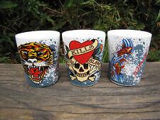 3 ED HARDY Skull Fish Tiger Shot Glasses - LOVE KILLS SLOWLY  2 oz Each