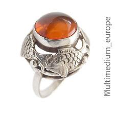 País de pescado Bernstein anillo de plata 30er años pescado Silver ring fish Amber 30s 835