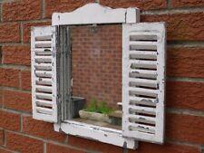 White Shabby Chic Garden Wall Art Ornate Louvre Shutter Door Wooden Mirror 40cm