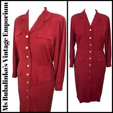 Size 16 18 Vintage Shirt Dress 1980s Red Gold Buttons Belted Secretary Work Chic