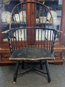 Antique Primitive Vintage Windsor Black Bow Hoop Back Arm Chair - Original