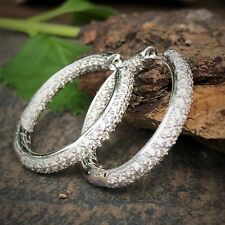 """Inside Out Pave-Set Diamond 14K White Gold Hoop Large 1"""" Contemporary Earrings"""
