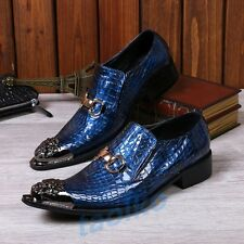 Men's Leather Metal Pointed Toe Slip On Loafer Cuban Heel Casual Nightclub Shoes