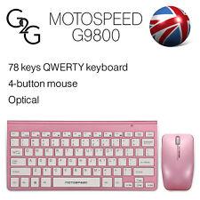 Motospeed G9800 Pink Slim 2.4GHz Wireless Keyboard Mouse Set IPAD MAC PC Tablet