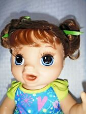 2018 Baby Alive BROWN Hair Blue Eye Interactive Doll Eats Drinks Pees And Poops