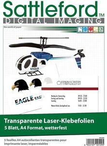 Decalfolien 5 Klebefolien A4 für Laserdrucker Kopierer bedruckbar transparent