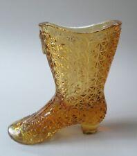 "Vintage Amber Glass Boot / Shoe 4 1/4"" Diamond Pattern Buttoned Mosser?"