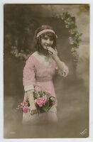 1910s Child Children PRETTY YOUNG GIRL kids  photo postcard