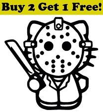 Hello Kitty Jason Mask Vinyl Decal Sticker Car Bumper Window Wal Halloween Cute
