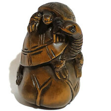 "Y6402-2/"" Hand Carved Boxwood Netsuke Oni Man With Big Hat"