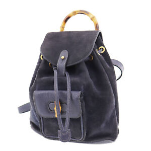 GUCCI Bamboo Used Backpack Hand Bag Navy Suede Vintage Authentic #AD831 S