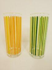 Vintage Ocean Thailand Glasses Set of 2 Retro Striped 70s Tea Barware Euc