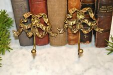 Vintage French Pair Brass Bow Ribbon Hooks Wall Mount