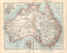 AUSTRALIEN  Tasmanien Sydney Melbourne Perth Port Augusta historische Karte 1893