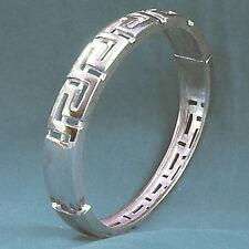 Key Magnetic Closure Filigree Silvertone Vintage Bracelet Hinged Bangle Greek