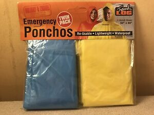 2 Pack OF PONCHOS EMERGENCY RE-USEABLE LIGHTWEIGHT WATERPROOF CAMPING NEW