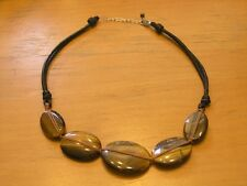 Signed Tiger's Eye 5 LG Beads Necklace Braided Leather Straps Sterling Clasp