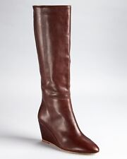 LOEFFLER RANDALL SOPHIE Brown Leather Designer Tall Wedge Boots Womens 8.5 *NEW*