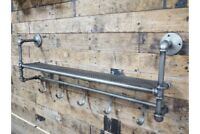 Pipe Industrial Metal Wall Shelf Storage With Hooks Racking Shelving Unit 100cm