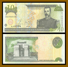 Dominican Republic 10 Pesos Oro, 2000 P-165a 2 Digit S/N 000064 Uncirculated