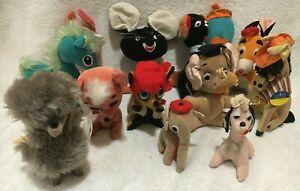 Vintage Japan Plush Stuffed Animals Lot Of 12 Dakin Dream Pets Kamar Takara Dogs