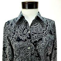 Lauren RALPH LAUREN Button Up Shirt Black White Paisley Non-Iron Womens M $79.50