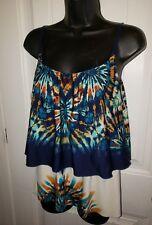 Women's XL Tank Top Tunic Retro Bailey Blue Spaghetti Strap Jersey Knit 2 Tier