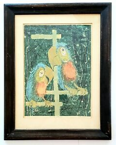 Mid-Century Modern 1957 Alton Raible Signed Limited Edition Serigraph Birds