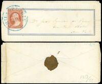 1850's Embossed Fancy Border Ladies Cover, Blue Philadelphia Cds -NY, SCOTT #10A