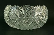 Signed Hand Cut Crystal Bowl Made in Turkey Turkish Glass Bowl Sawtooth Rim