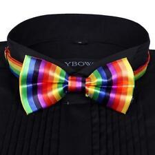 Men Satin Bow Tie Dickie Pre-Tied Wedding Tuxedo Tie Necktie Vertical Rainbow TL