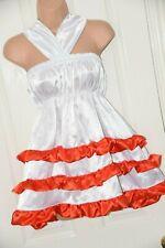 FIeb - White silky satin dress, red trims,  Large, BN, ABDL