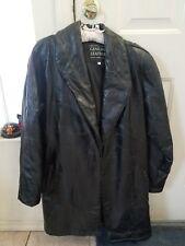 NWOT Ladies Women Genuine Black Leather Coat/Jacket Large, Long Belt