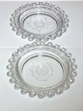 """Imperial Hughes candlewick corn flower cut 5"""" ashtray's"""