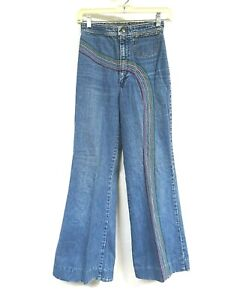 Vintage 70s Jeans LEE RAINBOW Chainstitch Embroidery Bell Bottom High Rise