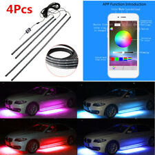 4×RGB LED Strip Under Car Tube Underbody Underglow System Neon Light APP Control