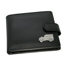 Genuine Black Leather Wallet with a Pewter Country Land 4x4 Vehicle Emblem