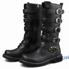 Men's buckle strap Knee High Boot Army Military shoes gothic lace cosplay black