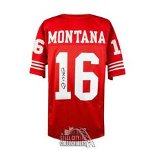 Joe Montana Autographed San Francisco 49ers Cutsom Red Football Jersey - JSA COA