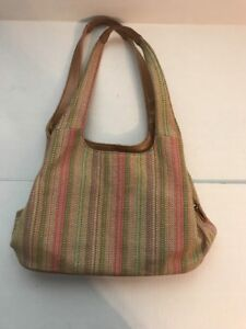 CROFT AND BARROW Summer Weave Woven Striped Purse in Pastel Colors Hobo Bag