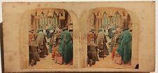 A l'église France Stereo coloriée à la mainVintage albumine ca 1860