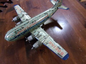 Vintage Tin Toy Silver King Boeing Stratocruiser Friction Drive Japan NX1050V