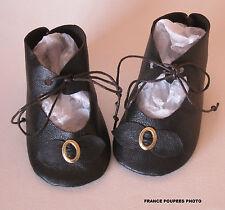 chaussures artisanales cuir 7.5x3.7cm poupée ancienne-Leather doll shoes