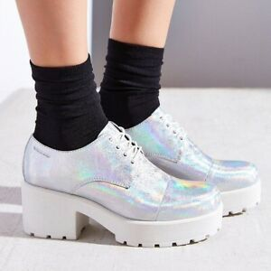 VAGABOND Dioon silver holographic chunky heel platform shoes boots ankle glam
