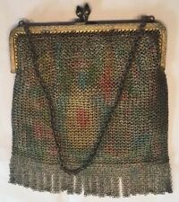 1920's Woven Chain Mesh Purse Floral Dyed Detail Sapphire Blue Cab Crystal Close